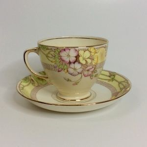 Vintage Sampson Smith Ivory Gold Floral Teacup Set